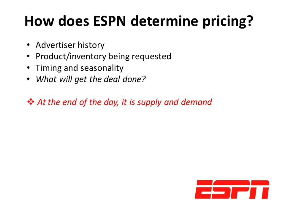 How does ESPN determine pricing.