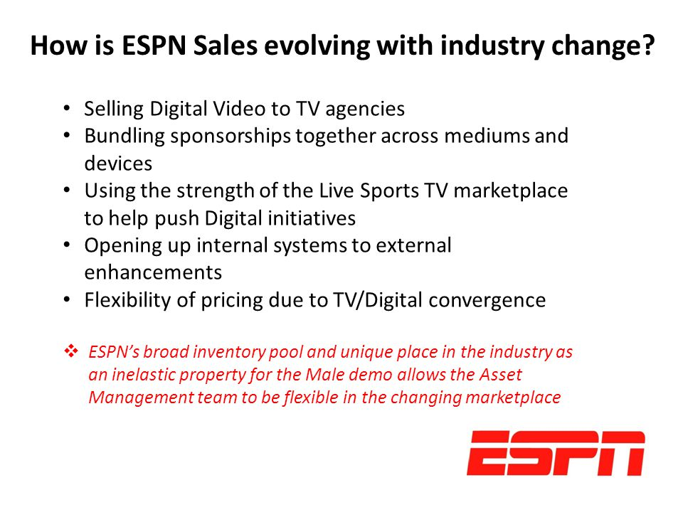 How is ESPN Sales evolving with industry change.