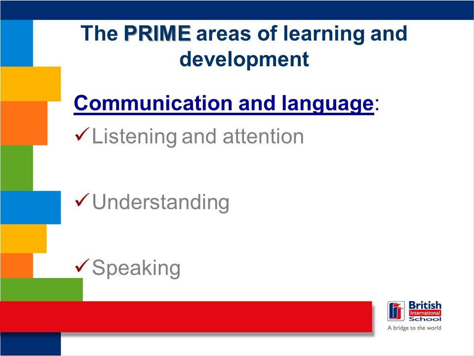 PRIME The PRIME areas of learning and development Communication and language: Listening and attention Understanding Speaking