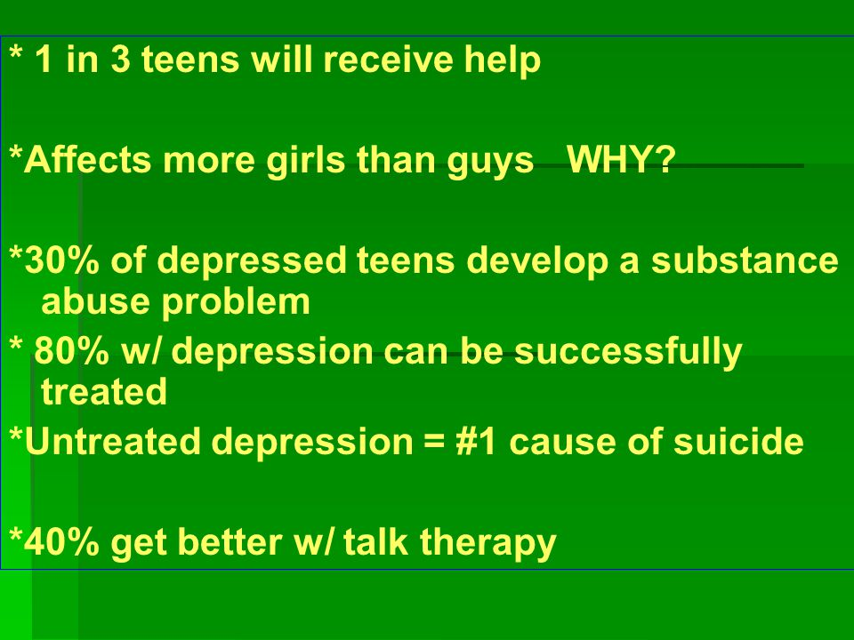 * 1 in 3 teens will receive help *Affects more girls than guys WHY.