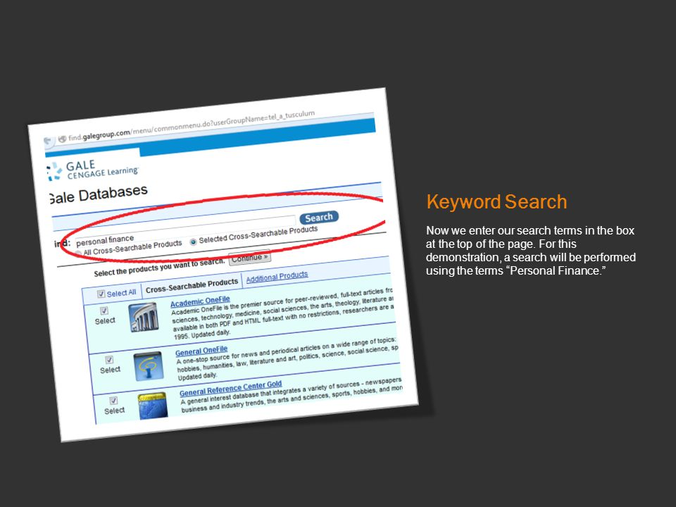 Keyword Search Now we enter our search terms in the box at the top of the page.