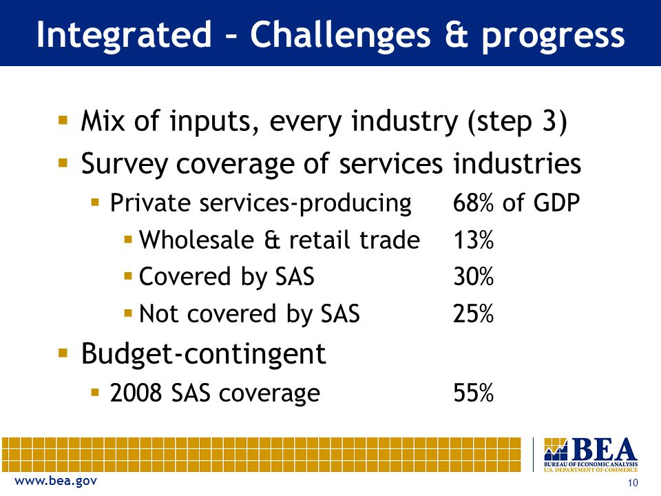 10 Integrated – Challenges & progress  Mix of inputs, every industry (step 3)  Survey coverage of services industries  Private services-producing68% of GDP  Wholesale & retail trade13%  Covered by SAS30%  Not covered by SAS25%  Budget-contingent  2008 SAS coverage 55%