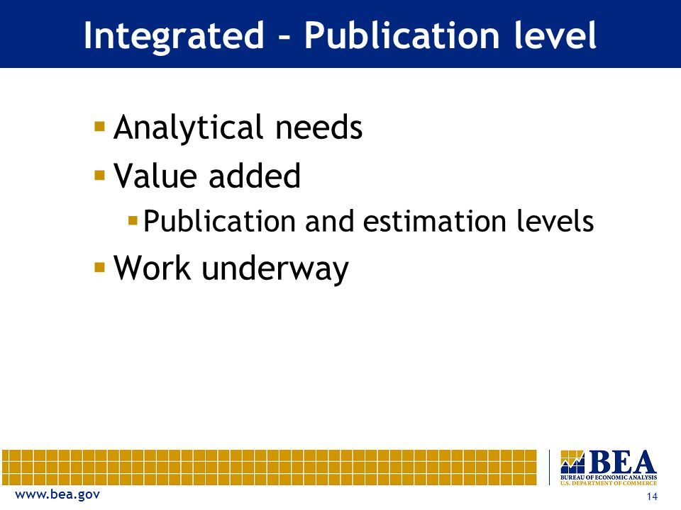 14 Integrated – Publication level  Analytical needs  Value added  Publication and estimation levels  Work underway