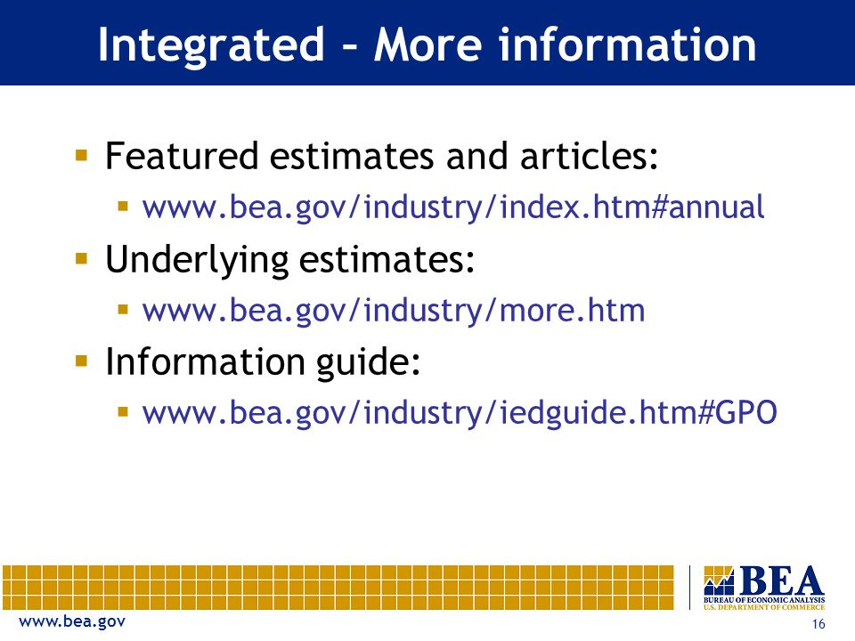 16 Integrated – More information  Featured estimates and articles:     Underlying estimates:     Information guide: 