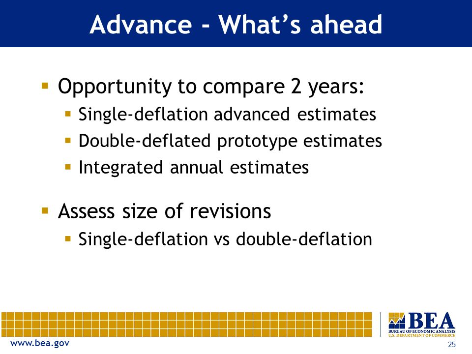 25 Advance - What's ahead  Opportunity to compare 2 years:  Single-deflation advanced estimates  Double-deflated prototype estimates  Integrated annual estimates  Assess size of revisions  Single-deflation vs double-deflation