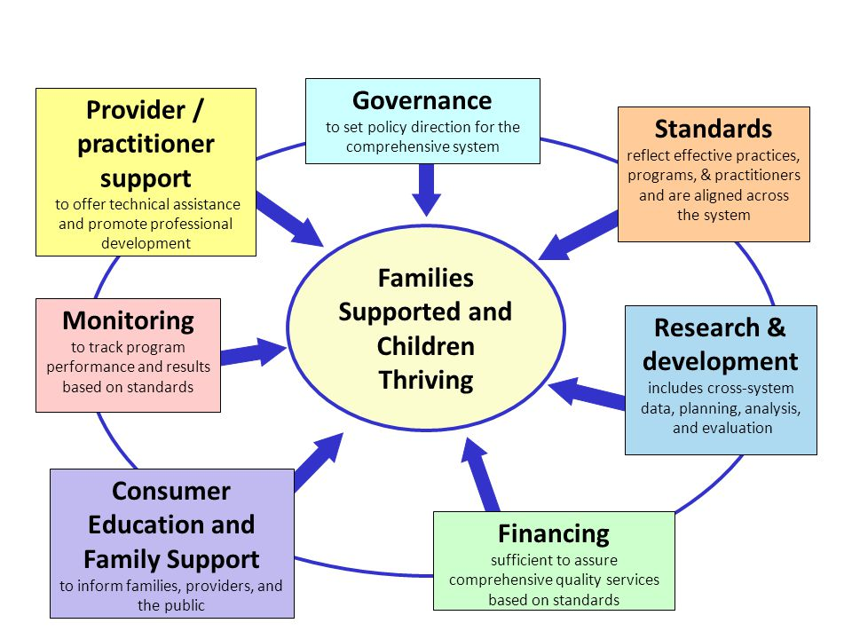 Families Supported and Children Thriving Financing sufficient to assure comprehensive quality services based on standards Governance to set policy direction for the comprehensive system Provider / practitioner support to offer technical assistance and promote professional development Standards reflect effective practices, programs, & practitioners and are aligned across the system Research & development includes cross-system data, planning, analysis, and evaluation Monitoring to track program performance and results based on standards Consumer Education and Family Support to inform families, providers, and the public