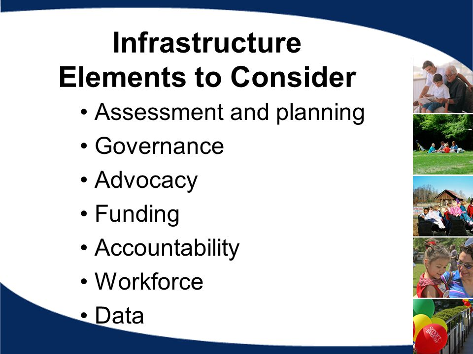 Infrastructure Elements to Consider Assessment and planning Governance Advocacy Funding Accountability Workforce Data