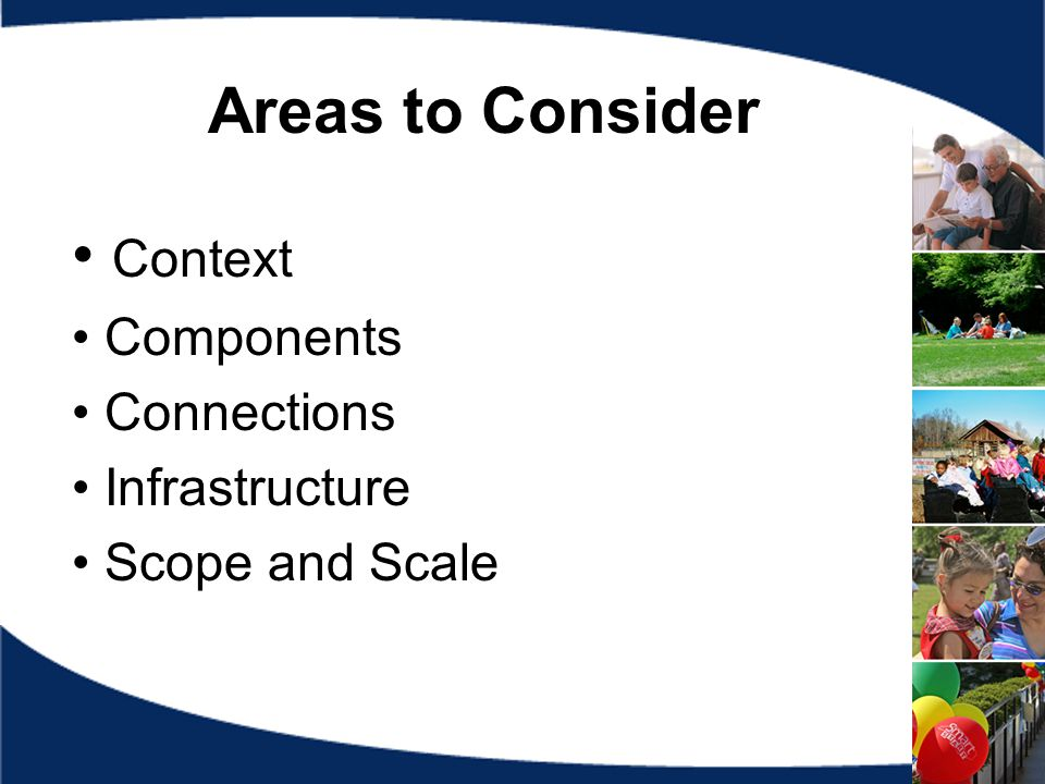 Areas to Consider Context Components Connections Infrastructure Scope and Scale