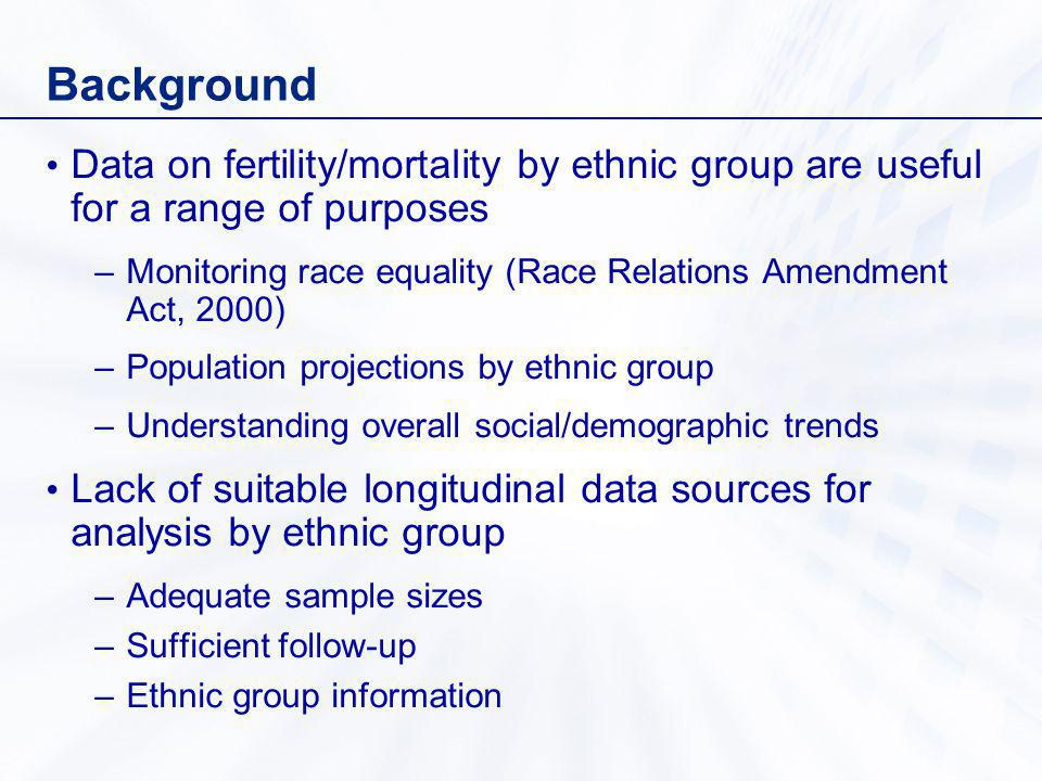 Background Data on fertility/mortality by ethnic group are useful for a range of purposes –Monitoring race equality (Race Relations Amendment Act, 2000) –Population projections by ethnic group –Understanding overall social/demographic trends Lack of suitable longitudinal data sources for analysis by ethnic group –Adequate sample sizes –Sufficient follow-up –Ethnic group information