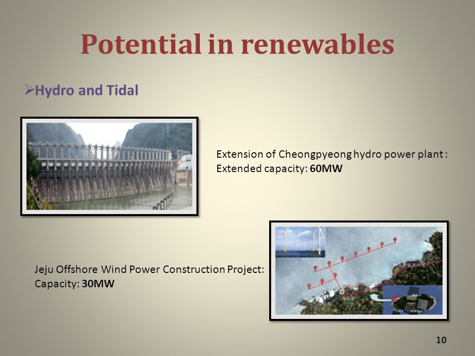 Potential in renewables 10 Extension of Cheongpyeong hydro power plant : Extended capacity: 60MW Jeju Offshore Wind Power Construction Project: Capacity: 30MW  Hydro and Tidal
