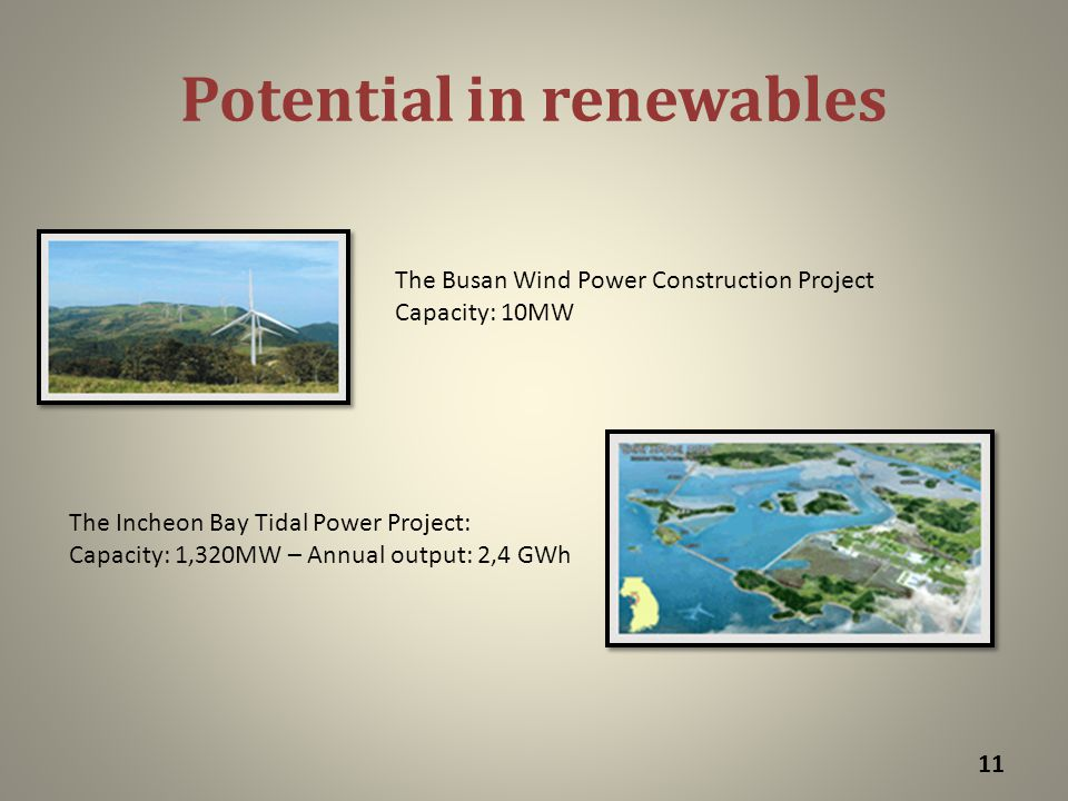 Potential in renewables 11 The Incheon Bay Tidal Power Project: Capacity: 1,320MW – Annual output: 2,4 GWh The Busan Wind Power Construction Project Capacity: 10MW