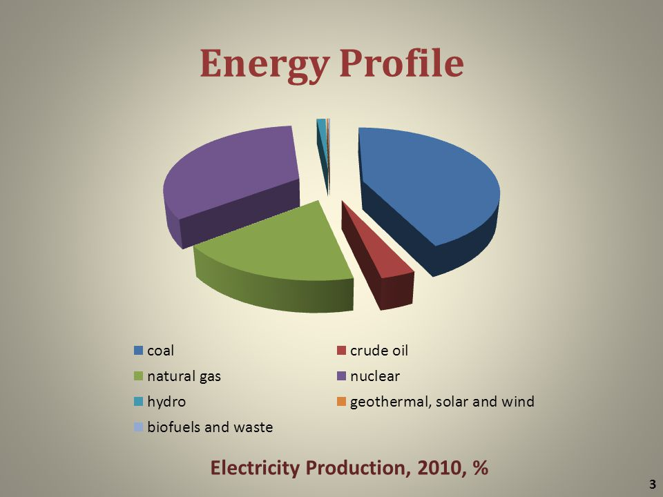 Energy Profile 3 Electricity Production, 2010, %