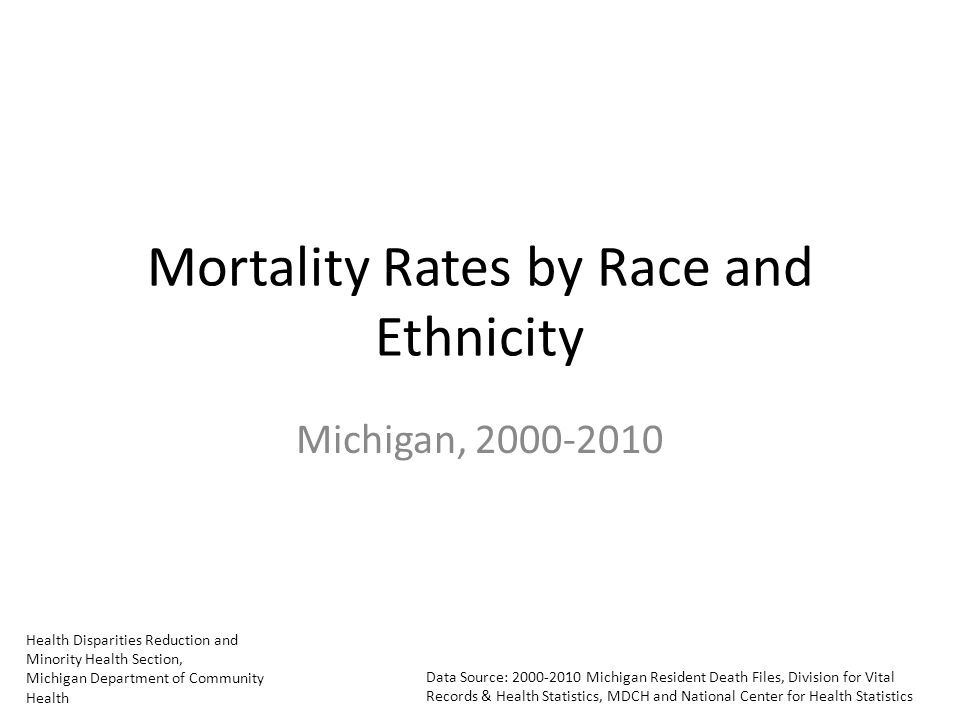Health Disparities Reduction and Minority Health Section, Michigan Department of Community Health Data Source: Michigan Resident Death Files, Division for Vital Records & Health Statistics, MDCH and National Center for Health Statistics Mortality Rates by Race and Ethnicity Michigan,