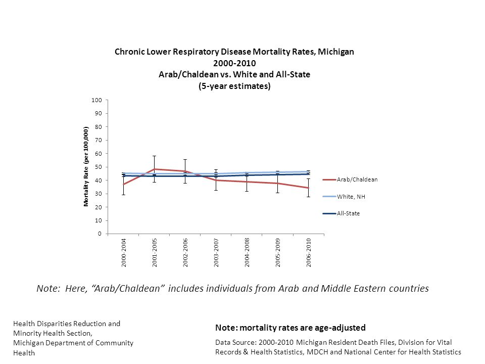 Health Disparities Reduction and Minority Health Section, Michigan Department of Community Health Data Source: Michigan Resident Death Files, Division for Vital Records & Health Statistics, MDCH and National Center for Health Statistics Note: Here, Arab/Chaldean includes individuals from Arab and Middle Eastern countries Note: mortality rates are age-adjusted