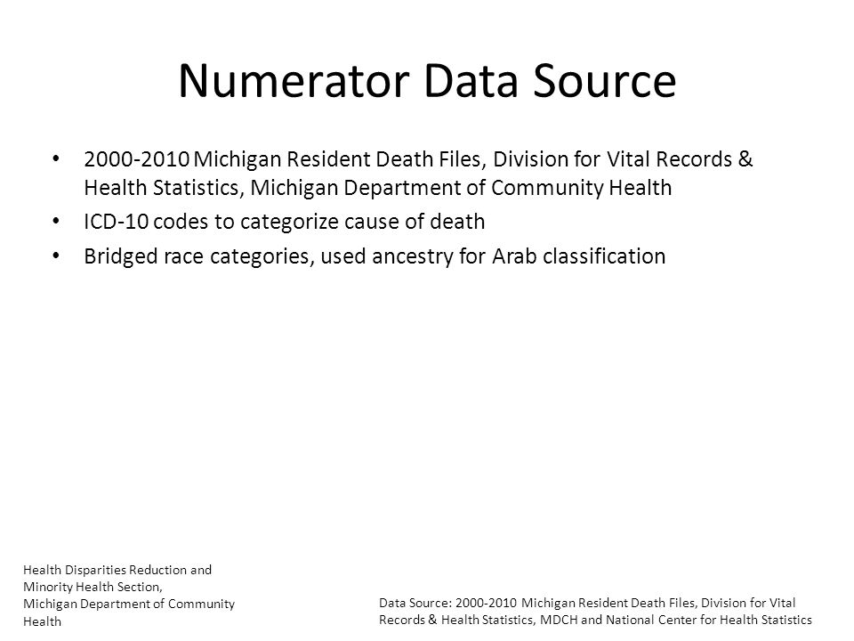Health Disparities Reduction and Minority Health Section, Michigan Department of Community Health Data Source: Michigan Resident Death Files, Division for Vital Records & Health Statistics, MDCH and National Center for Health Statistics Numerator Data Source Michigan Resident Death Files, Division for Vital Records & Health Statistics, Michigan Department of Community Health ICD-10 codes to categorize cause of death Bridged race categories, used ancestry for Arab classification