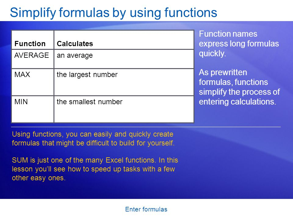 Enter Formulas Simplify By Using Functions Function Names Express Long Quickly