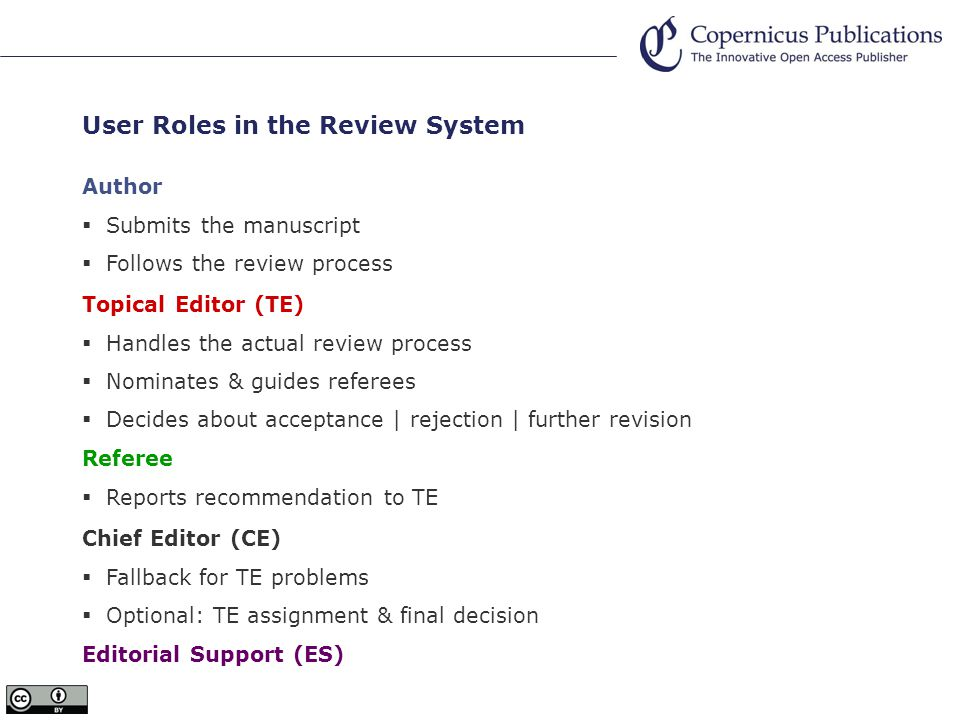 Work Flows of the Online Review System Copernicus Office