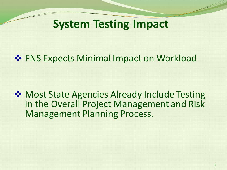 System Testing Impact 3  FNS Expects Minimal Impact on Workload  Most State Agencies Already Include Testing in the Overall Project Management and Risk Management Planning Process.