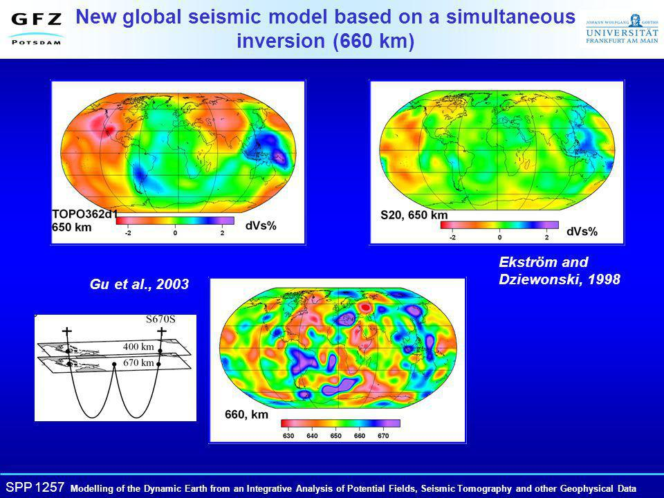 SPP 1257 Modelling of the Dynamic Earth from an Integrative Analysis of Potential Fields, Seismic Tomography and other Geophysical Data New global seismic model based on a simultaneous inversion (660 km) Ekström and Dziewonski, 1998 Gu et al., 2003