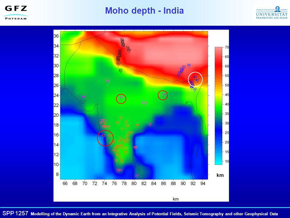 SPP 1257 Modelling of the Dynamic Earth from an Integrative Analysis of Potential Fields, Seismic Tomography and other Geophysical Data Moho depth - India