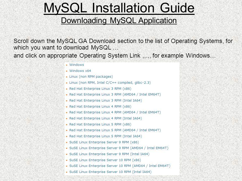 MySQL Installation Guide  MySQL Downloading MySQL Installer  - ppt