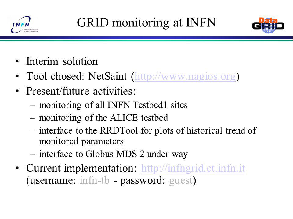GRID monitoring at INFN Interim solution Tool chosed: NetSaint (  Present/future activities: –monitoring of all INFN Testbed1 sites –monitoring of the ALICE testbed –interface to the RRDTool for plots of historical trend of monitored parameters –interface to Globus MDS 2 under way Current implementation:   (username: infn-tb - password: guest)