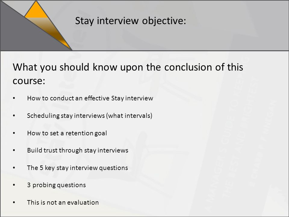2019 Stay interview training standards for conducting an